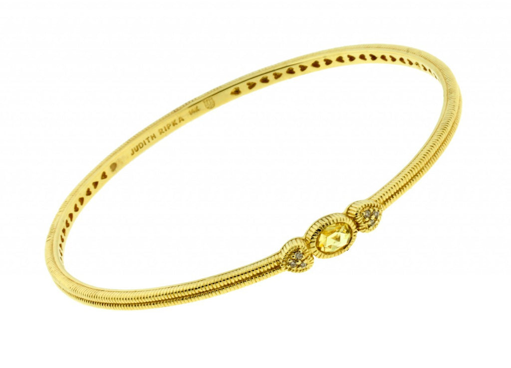 Judith Ripka diamond & canary quartz bangle in 14k Yellow gold size M