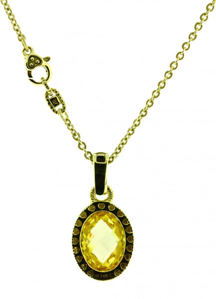Judith Ripka .04 carat diamond & canary quartz necklace in 14K yellow gold.