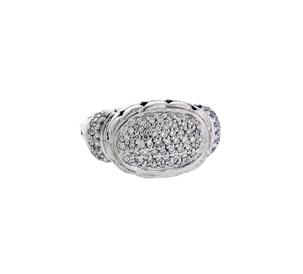 John Hardy pave diamond ring in 18k yellow gold & sterling silver