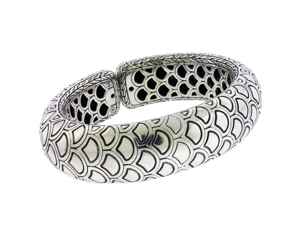 John Hardy Buffalo Horn flexible heavy bangle bracelet in sterling silver