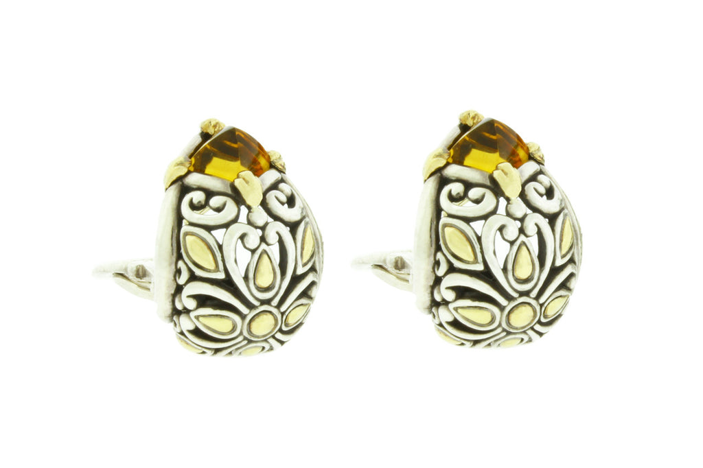 John Hardy Citrine leaver back earrings in 18k yellow gold and sterling silver