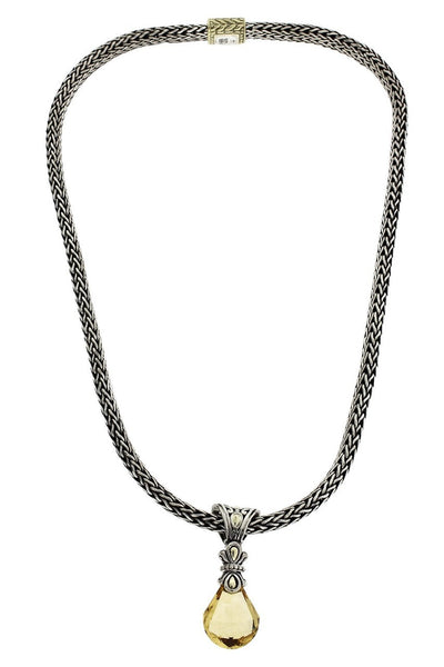 John Hardy classic chain Citrine necklace in 18k & sterling silver.