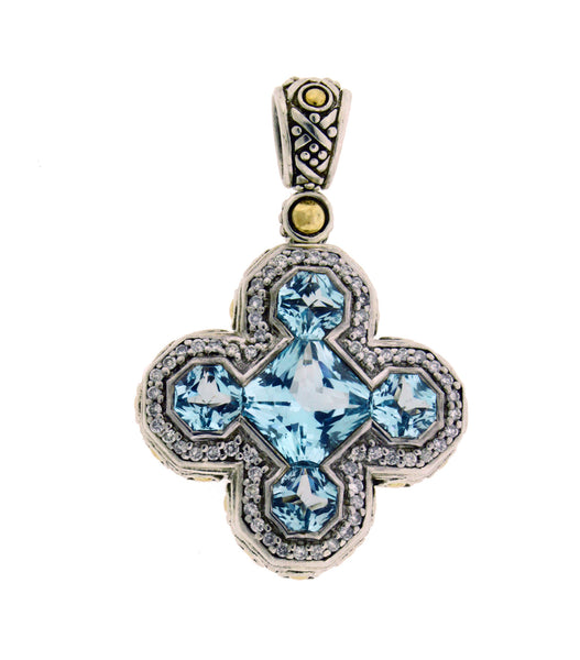John Hardy diamond and blue topaz cross pendant in 18k yellow gold & silver