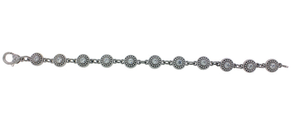 Judith Ripka CZ Link Bracelet in sterling silver 7.5 inches long