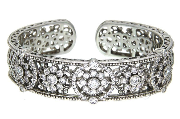 Judith Ripka CZ hinged bangle in sterling silver size large.