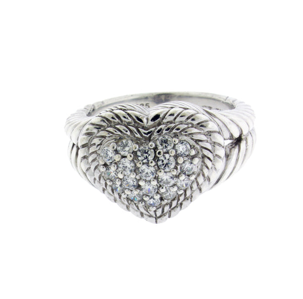 Judith Ripka Heart CZ ring in 925 sterling silver size 8