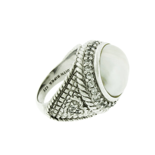 Judith Ripka Pearl & CZ ring in 925 sterling silver size 6