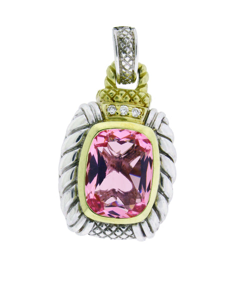 Judith Ripka Two 18k and silver diamond & pink crystal large enhancer pendant