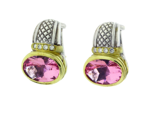 Judith Ripka Two 18k yellow gold and silver diamond & pink crystal earrings