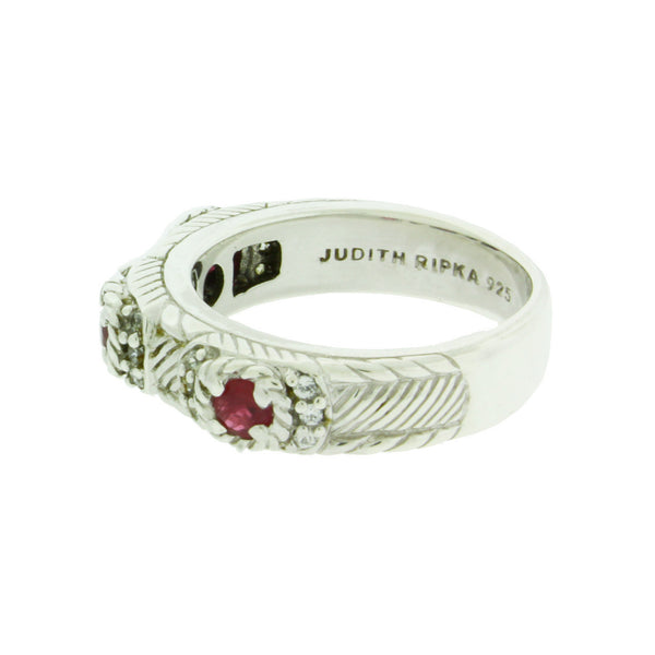 Judith Ripka Red CZ ring in sterling silver Size 5.75