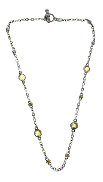 Judith Ripka yellow crystal necklace in 18k yellow gold and sterling silver 16""