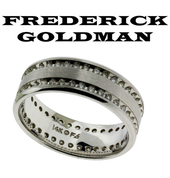 Frederick Goldman 22-8106W-G men's .75ct diamond eternity wedding band in 14k wh
