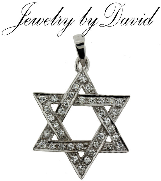 JEWISH STAR PENDANT .65 CARAT VS-G DIAMOND JEWISH STAR PENDANT IN 14K WHITE GOLD