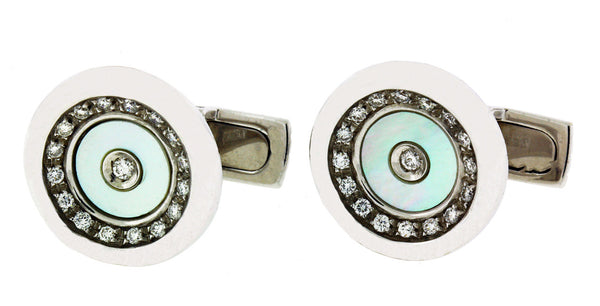 KITSINIAN DIAMOND & MOTHER OF PEARL CUFFLINKS IN 14K GOLD