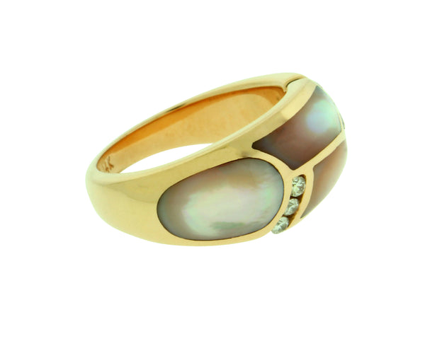 Kabana diamond ring with Pink Mother of Pearl in 14k rose gold size 6.75