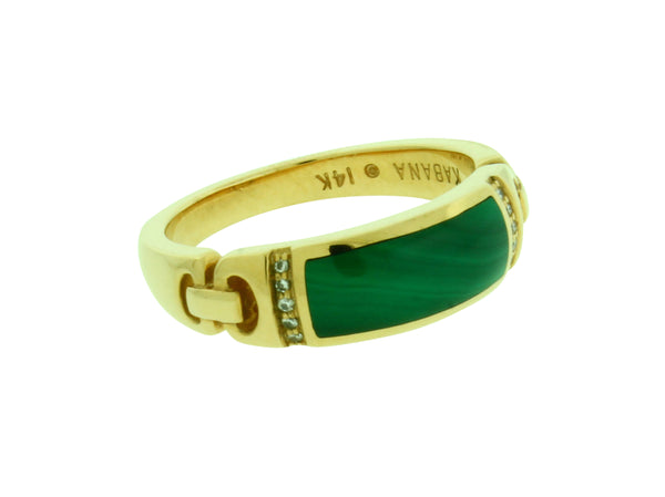 Kabana diamond ring with malachite in 14k yellow gold size 8