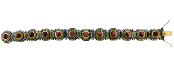 Konstantino Women's 18k Yellow gold and Silver pink tourmaline bracelet