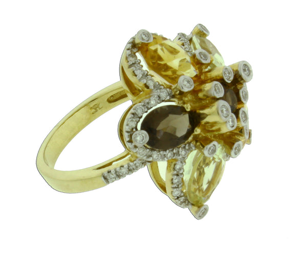 Levian diamond, smokey topaz, & citrine ring in 14k yellow gold new size 7