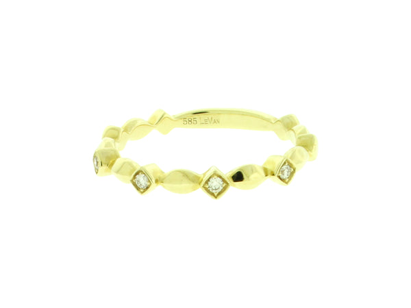 Levian Women's stackable diamond band ring In 14k yellow Gold size 6.75