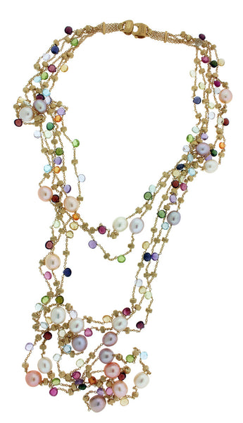 Marco Bicego Womens 18k 5 strand Extra long Multicolored Stone Paradise Necklace