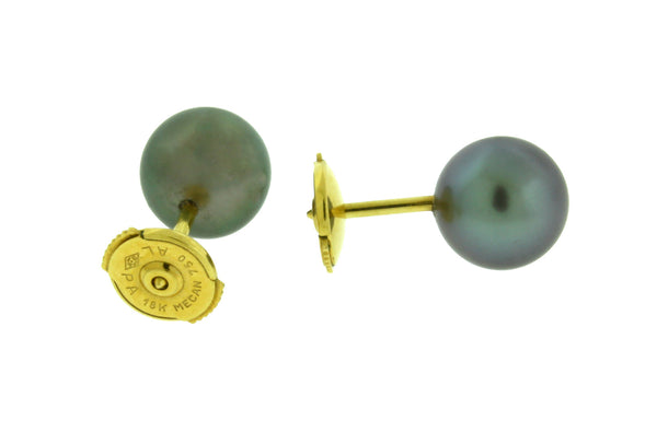 Mecan 9mm Black South Sea pearl earrings in 18k yellow gold with french post