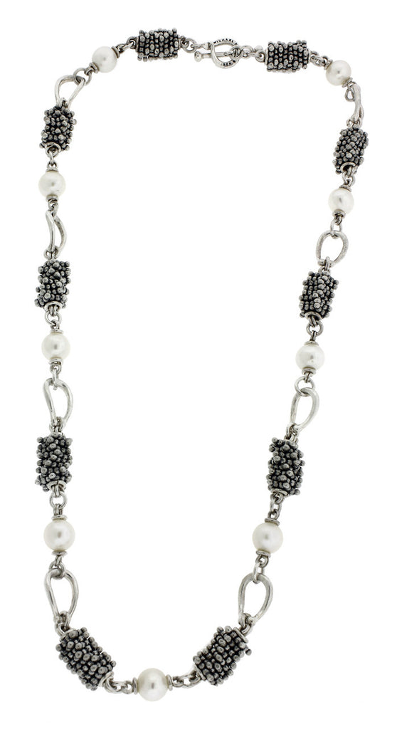 Michael Dawkins heavy pearl necklace in sterling silver.