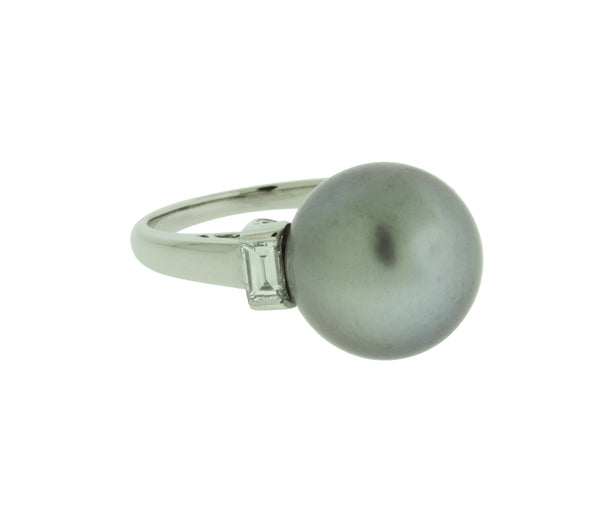 Mikimoto 12mm back South Sea pearl & diamond ring in 18k white gold