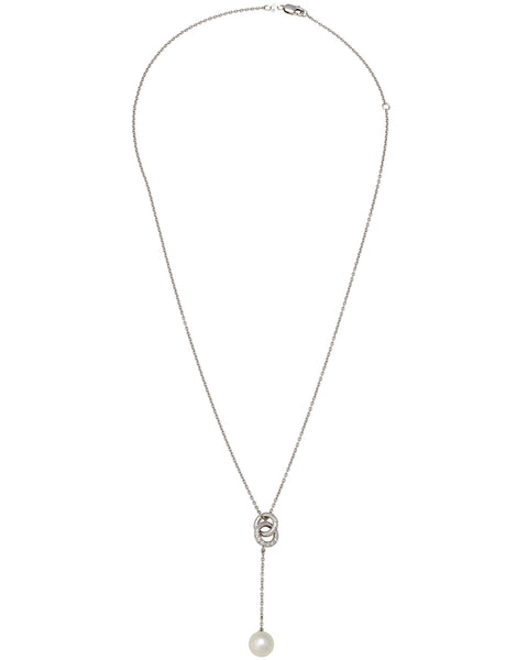 Mikimoto diamond and 8.15mm Akoya pearl dangle necklace In 18k white gold