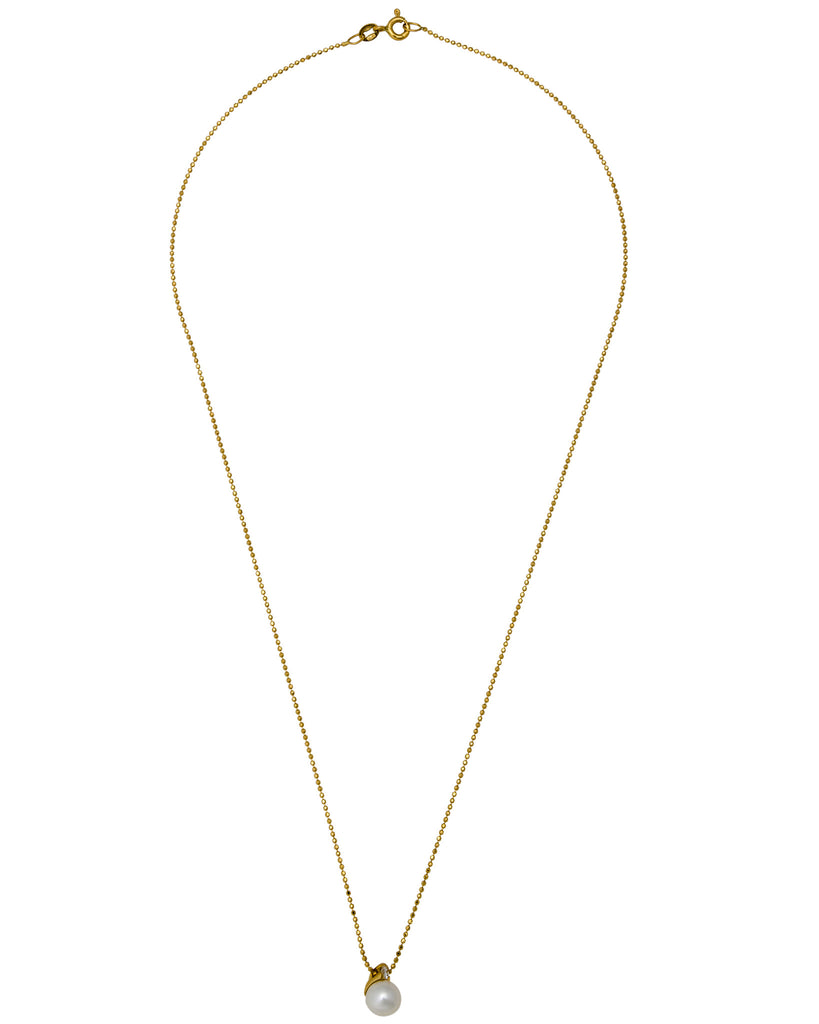 Mikimoto Diamond And 75mm Akoya Pearl Solitaire Necklace In 18k Yellow Gold