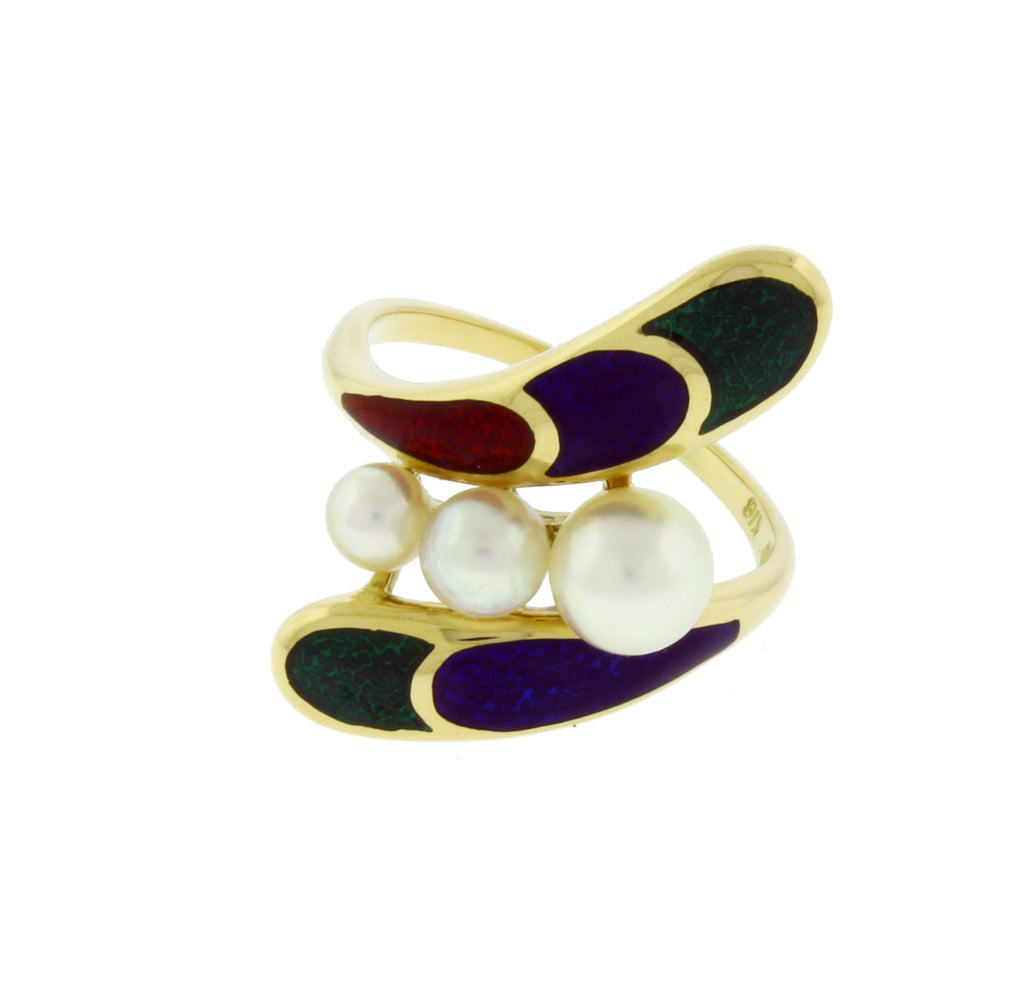 Mikimoto pearl and enamel ring in 18k yellow gold