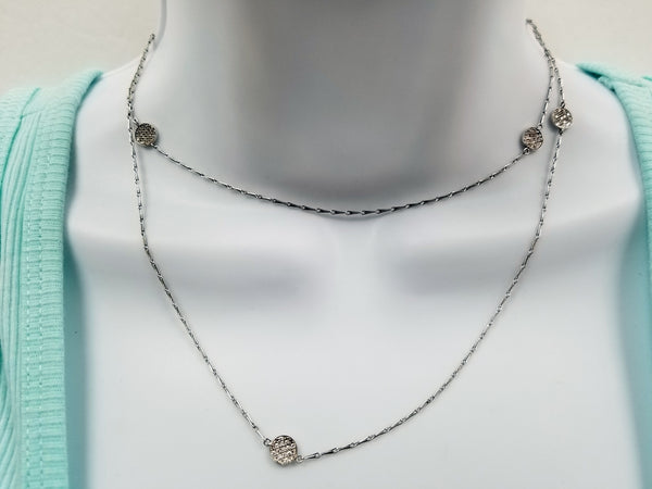 Mizuki 5 section pave diamond long Necklace In 18k white gold 32""