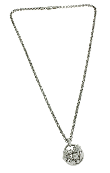 Mouawad ladies diamond Flower Necklace In 18k white Gold 16""