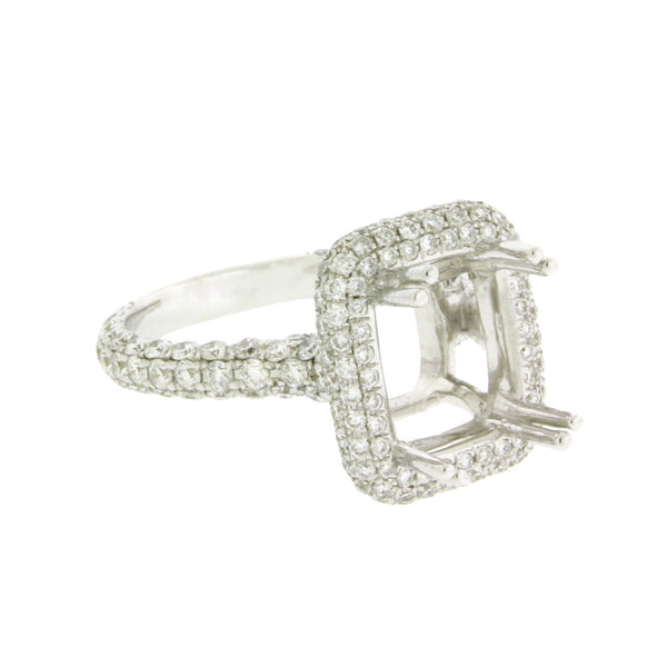 Odelia Womens diamond engagement ring in 18k white gold fits 3 carat emerald cut