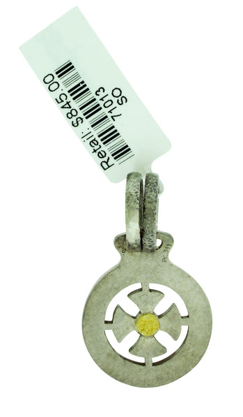 GURHAN Raw Life small Cross pendant in sterling silver with yellow gold accent