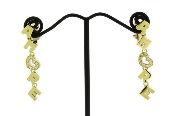 Pasquale Bruni Amore diamond dangle earrings in 18k yellow gold.