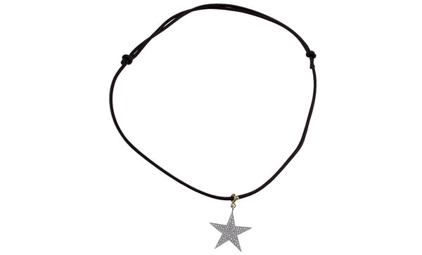 Pasquale Bruni pave diamond star necklace in 18k with brown cord chain