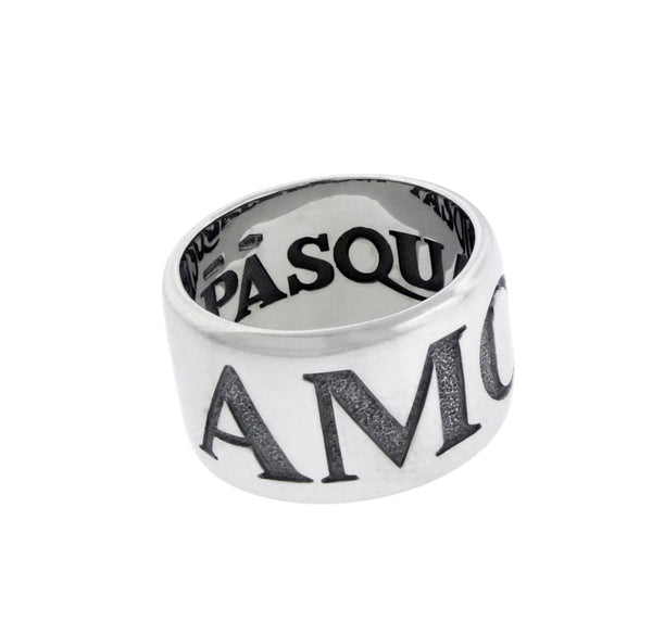 Pasquale Bruni wide Amore ring in 18k white gold.
