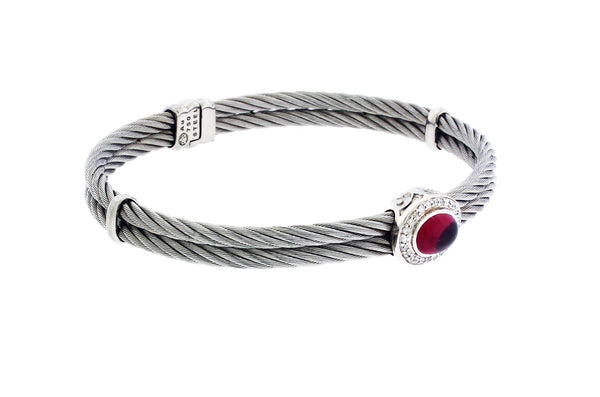 Philippe Charriol Ladies diamond & tourmaline bracelet bangle in 18k & steel