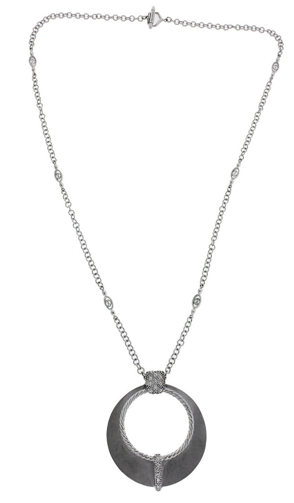 Philippe Charriol pave diamond necklace in 18k white gold 17 inches long