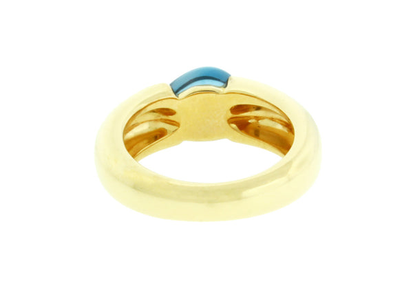 Pomellato Sassi blue topaz ring in 18k yellow gold Size 6.25.