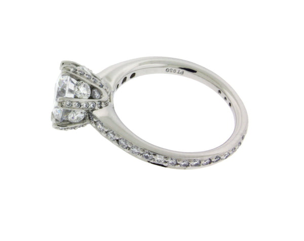 Ritani 1R3269 Pave Set Engagement Ring In platinum fits 2 carats Round Size 6.5