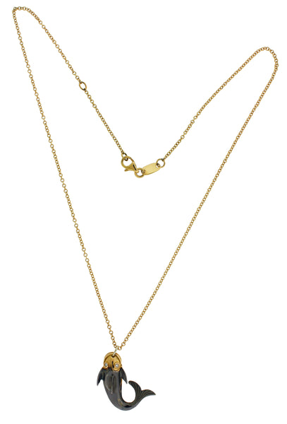 Roberto Coin 18k rose gold diamond lucky fish necklace
