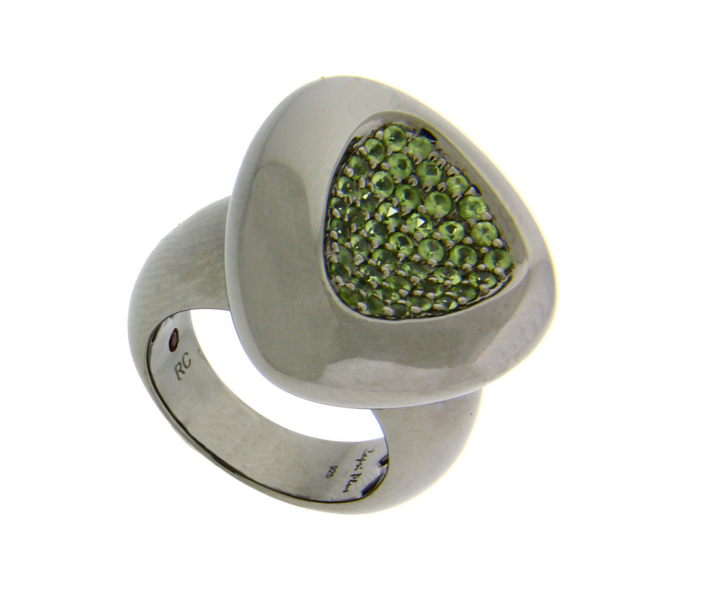 Roberto Coin Capri Plus Sterling Ruthenium Plated green quartz ring.