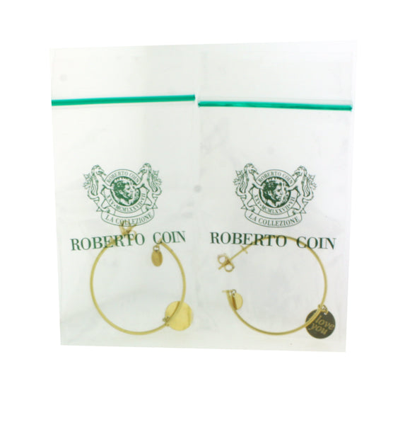 Roberto Coin I Love You charm hoops earrings in 18k yellow gold