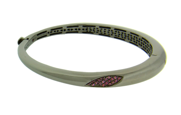 Roberto Coin Rhodolite Capri Plus bangle in Sterling Silver Ruthenium.