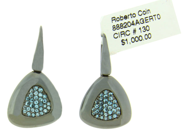 Roberto Coin blue topaz Capri Plus earrings in Sterling SIlver Ruthenium Plated
