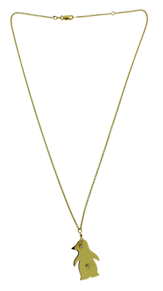 Roberto Coin diamond penguin necklace in 18k  yellow gold