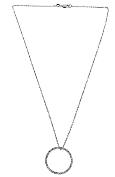 Roberto Coin full pave diamond circle of life necklace in 18k white gold