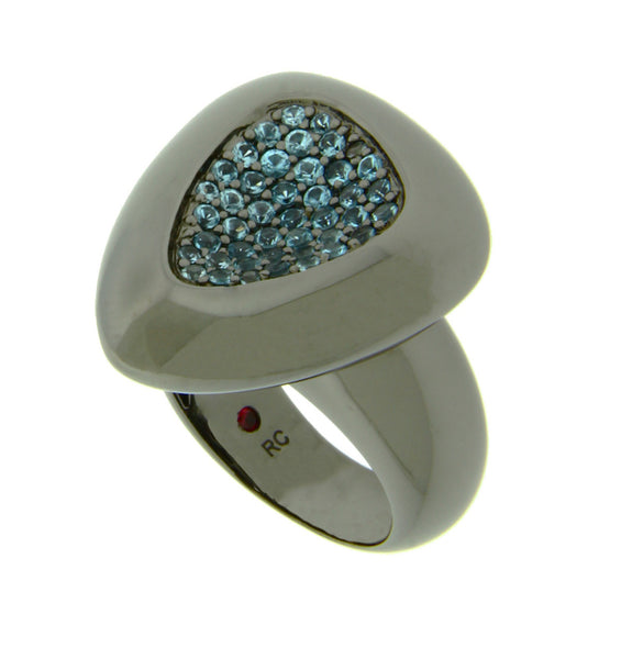 Roberto Coin Capri Plus Sterling SIlver Ruthenium Plate Blue Topaz Ring Size 6.5
