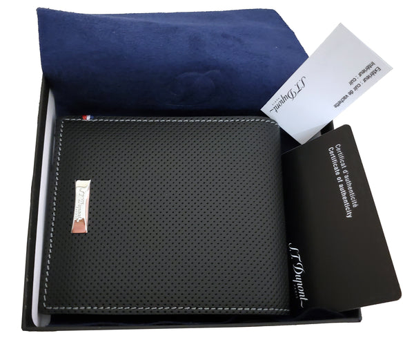 S.T. Dupont 170402  Défi perforated 8 card black leather wallet
